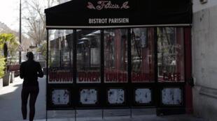 Un bistrot fermé, le 24 mars 2021, à Paris.