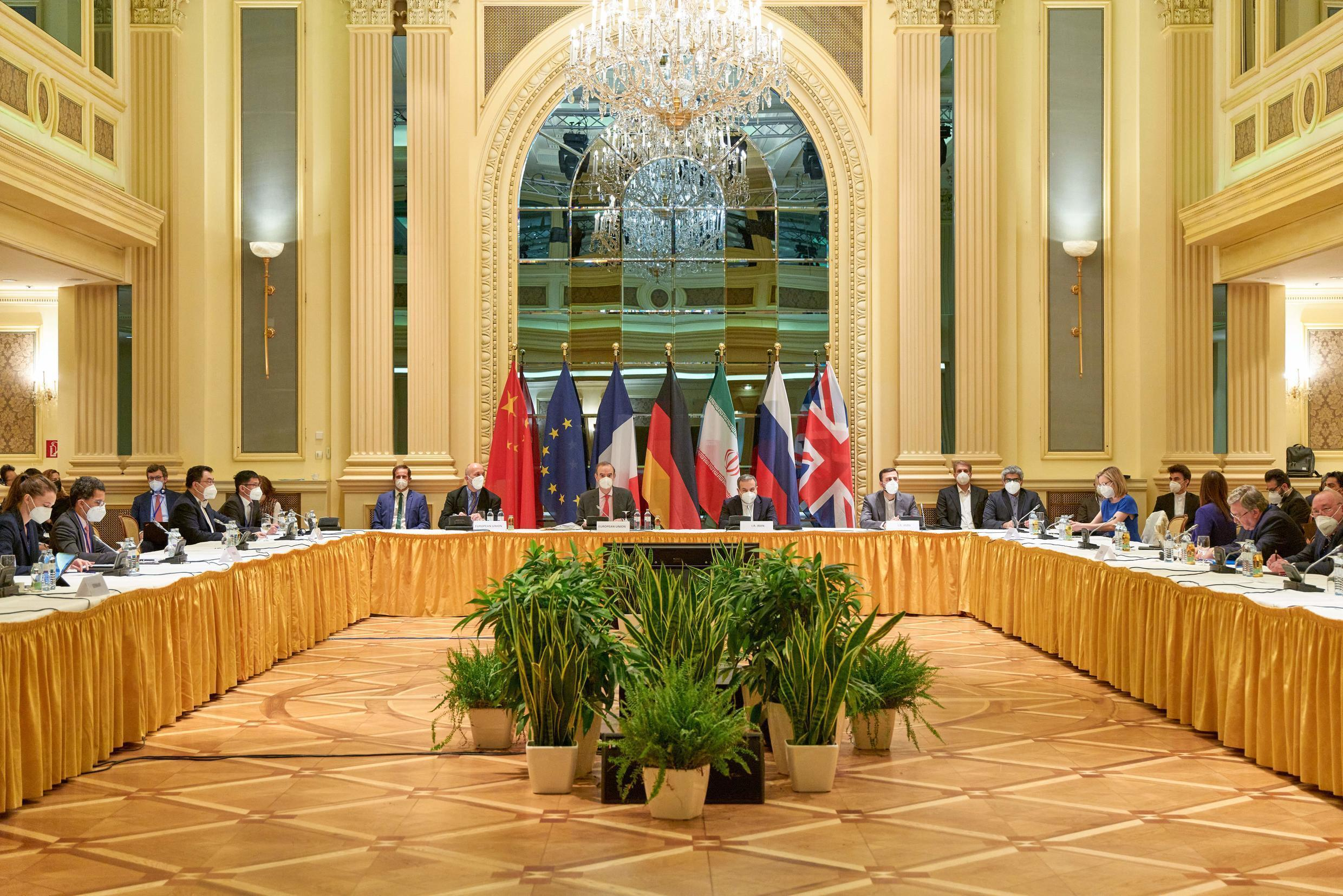 Delegation members from the parties to the Iran nuclear deal - Germany, France, Britain, China, Russia and Iran -- meet in Vienna