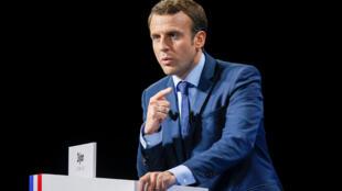Emmanuel Macron, trong cuộc mít tinh tại thành phố Dijon, ngày 23/03/2017.