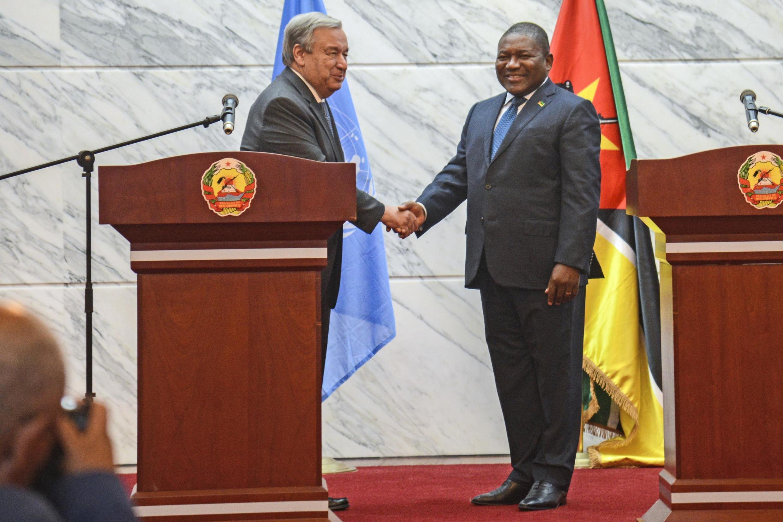 António Guterres, Secretário-Geral da ONU, e o Presidente de Moçambique, Filipe Nyusi. Maputo, 11 de Julho de 2019.