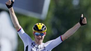 Le Slovène Matej Mohoric vainqueur de la 19e étape du Tour de France, entre Mourenx et Libourne, le 16 juillet 2021
