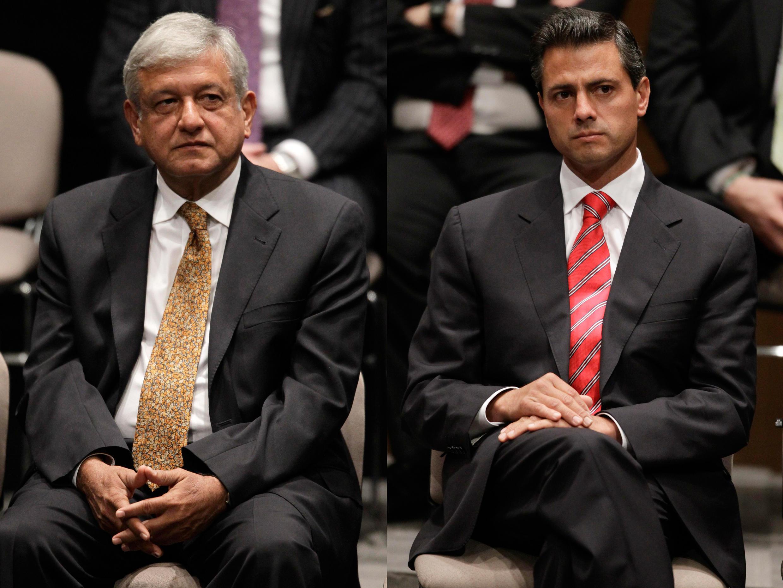 Les deux candidats en tête de la campagne présidentielle, Andrés Manuel López Obrador (g) du PRD et Enrique Peña Nieto (d) du PRI.