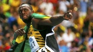 Usain Bolt after winning the men's 100 metres final in Moscow