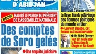 Le «Quotridien d'Abidjan», journal d'opposition, a publié en Une un article intitulé «Des comptes de Soro gelés» dans l'édition de vendredi 28 juillet 2017.