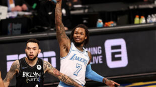 Le N.7 des Lakers Ben McLemore lors du match de NBA contre les Nets, le 10 avril 2021 à Brooklyn