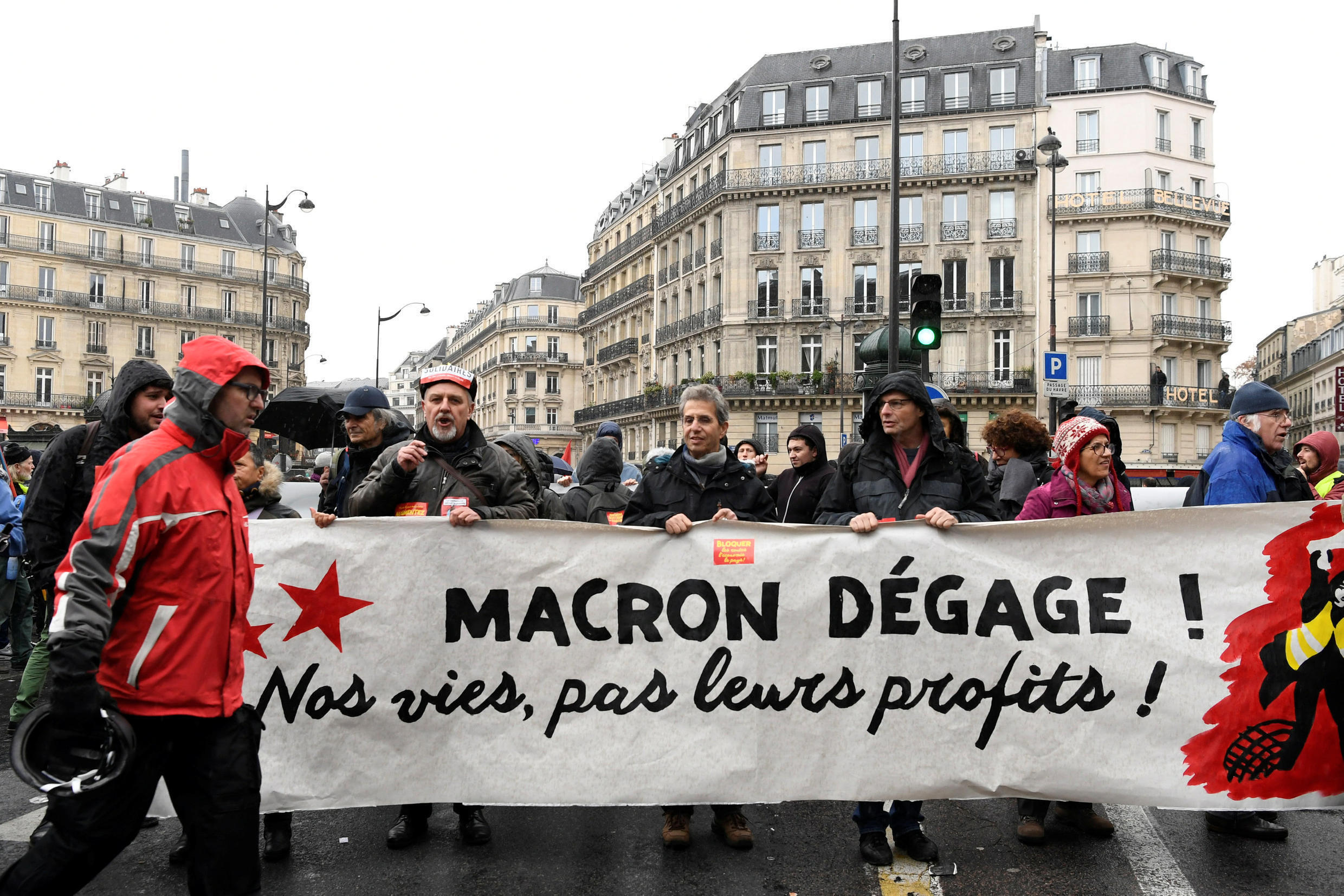 Protesters in Paris on December 8 for the fourth Paris protest since November 17.
