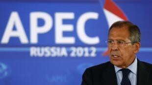 El ministro de Exteriores ruso Sergei Lavrov durante una conferencia de prensa, este 5 de septiembre en Vladivostok.