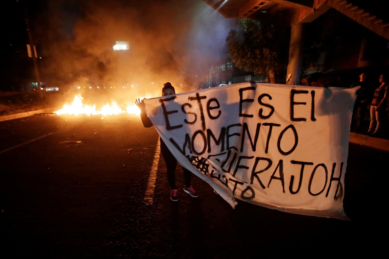 Manifestation pour réclamer le départ du président Juan Hernandez, à Tegucigalpa, le 19 juin 2019.