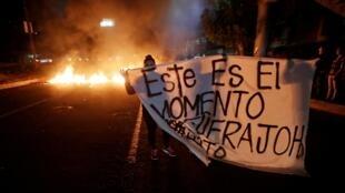 Manifestation pour réclamer le départ du président Juan Hernandez, à Tegucigalpa (Honduras), le 19 juin 2019.