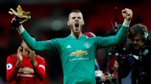 David de Gea célèbre la victoire de Manchester United 1-0 contre Tottenham, 13 janvier 2019 au Stade Wembley, à Londres, en Grande-Bretagne.