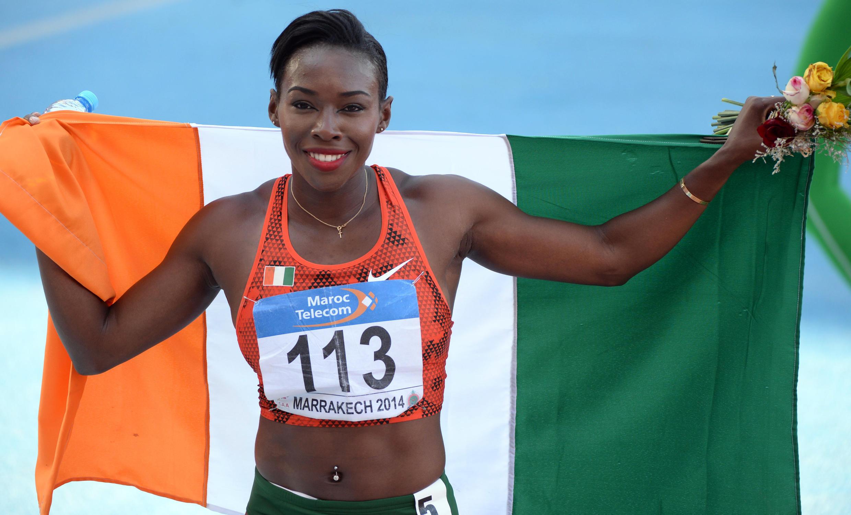L'Ivoirienne Murielle Ahoué (ici, lors des Championnats d'Afrique 2014 d'athlétisme) a été la porte-drapeau de la Côte d'Ivoire, lors de la cérémonie d'ouverture des JO 2016.