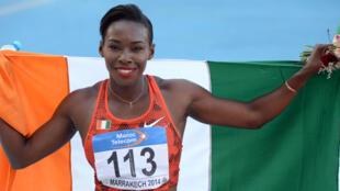 L'Ivoirienne Murielle Ahoué (ici, lors des Championnats d'Afrique 2014 d'athlétisme) sera la porte-drapeau de la Côte d'Ivoire, lors de la cérémonie d'ouverture des JO 2016.