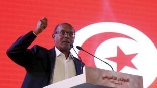 L'ancien président Moncef Marzouki lors du lancement officiel de son nouveau parti politique, le 20 décembre, à Tunis.