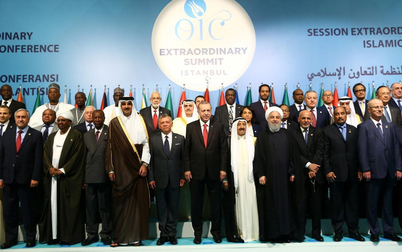 Shugaban Turkiya Tayyip Erdogan tare da wakilan kasashen Musulmi da ke kungiyar (OIC) yayin taron da suka yi a Istanbul babban birnin Turkiya. 18 ga Mayu, 2018.