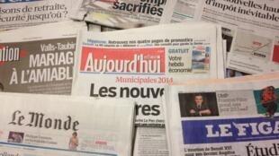 Primeiras páginas diários franceses 25/2/2013