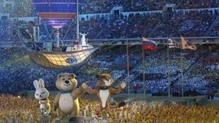 Um dos últimos momentos da festa de encerramento das Olimpíadas de Sochi.
