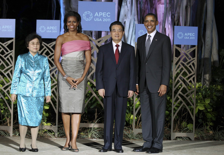 Michelle e Barack Obama recebem o casal presidencial chinês, Hu Jintao e Liu Yongqing, em Honolulu, no Havaí.