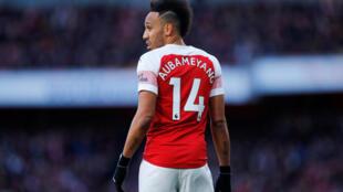 L'attaquant international gabonais Pierre-Emerick Aubameyang, sous le maillot des Gunners d'Arsenal le 10 mars 2019.