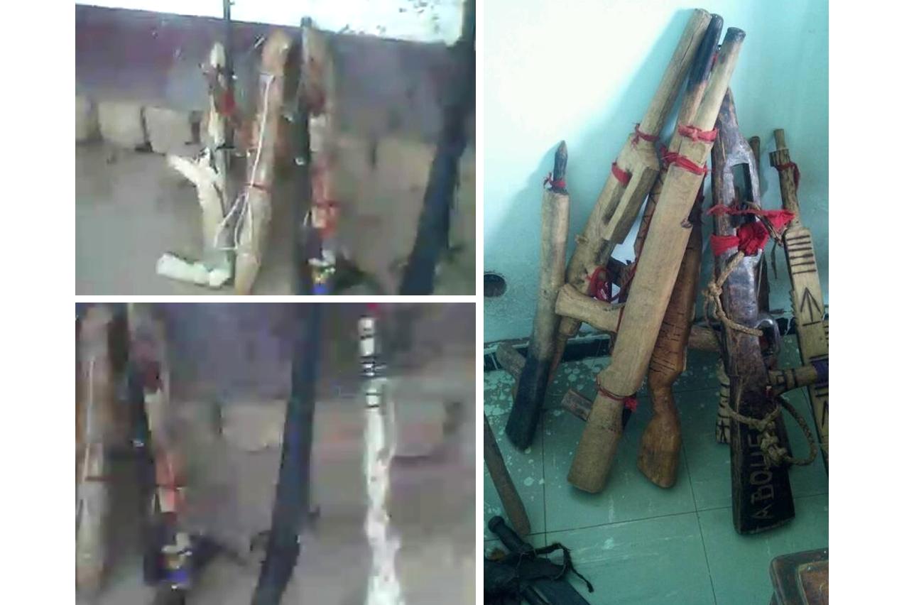 Des « armes » saisies par les forces de sécurité congolaises. Capture d'écran d'une vidéo de massacres à Tshimbulu en février 2017 (gauche) et photo postée sur le profil Facebook d'un militaire congolais déployé dans le Grand Kasaï (droite).