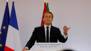 Emmanuel Macron lors de son discours à Ouagadougou, le 28 novembre 2017.