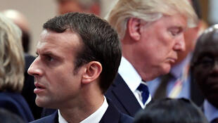 O Presidente francês Emmanuel Macron (primeiro plano) e o seu homólogo norte-americano Donald Trump (segundo plano) discursaram na ONU.