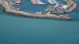 Vue aérienne du port de Rosslare, en Irlande.