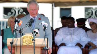 Le prince Charles lors de son discours à Banjul, le 1er novembre 2018.