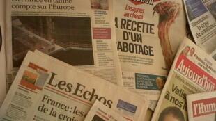 Primeiras páginas diários franceses 15/2/2013