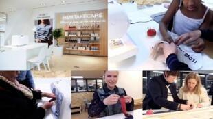 Ateliês de costura para clientes da Kiabi e da H&M (alto a esq.).