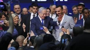 Benyamin Netanyahu au QG de campagne de son parti, le Likoud, à Tel-Aviv, le 3 mars 2020.