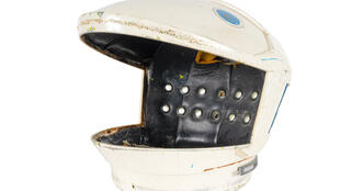 """A helmet worn in Stanley Kubrick's """"2001 Space Odyssey"""", to be auctioned as part of the full suit in July 2020"""