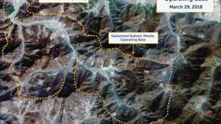 Một hình ảnh vệ tinh của Digital Globe chụp ngày 29/03/2018 cho thấy một căn cứ tên lửa tại Sakkanmol, Bắc Triều Tiên. Ảnh được cung cấp cho Reuters ngày 12/11/2018