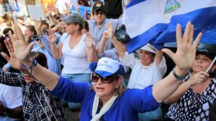 Manifestation pour l'anniversaire des premières mobilisations anti-Ortega, le 17 avril 2019.