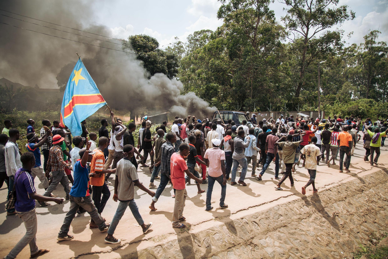Manifestación contra la suspensión de las elecciones en Beni, República Democrática del Congo. Jueves, 27 de diciembre de 2018.
