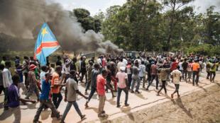 Wasu daga cikin masu zanga-zanga a garin butembo na kasar  DRCongo