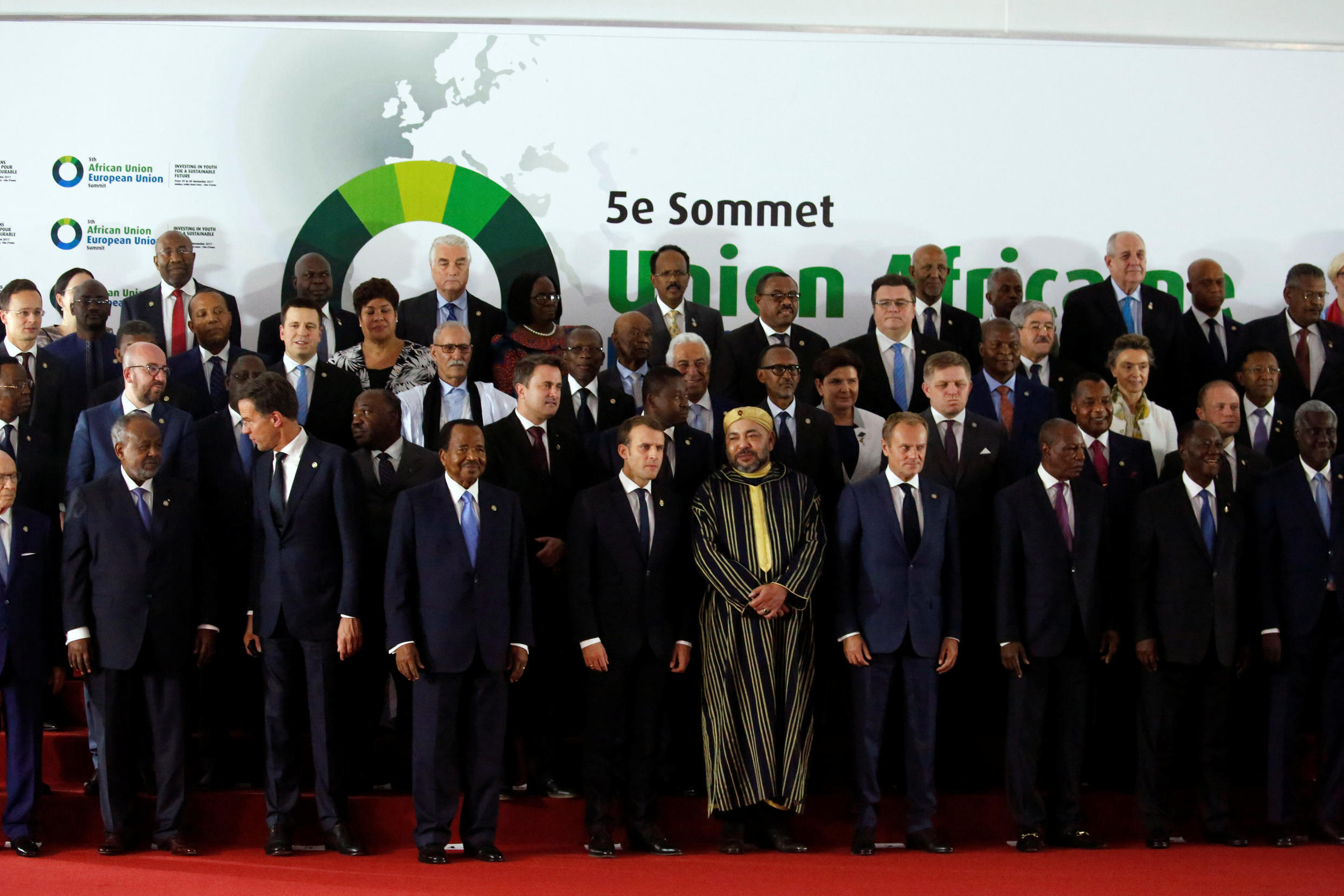 European Union and African Union heads of states pose during the opening ceremony of the fifth AU-EU summit in Abidjan, Côte d'Ivoire on 29 November, 2017.