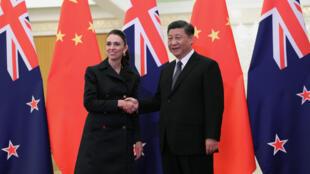 中國國家主席習近平與新西蘭總理阿德恩資料圖片