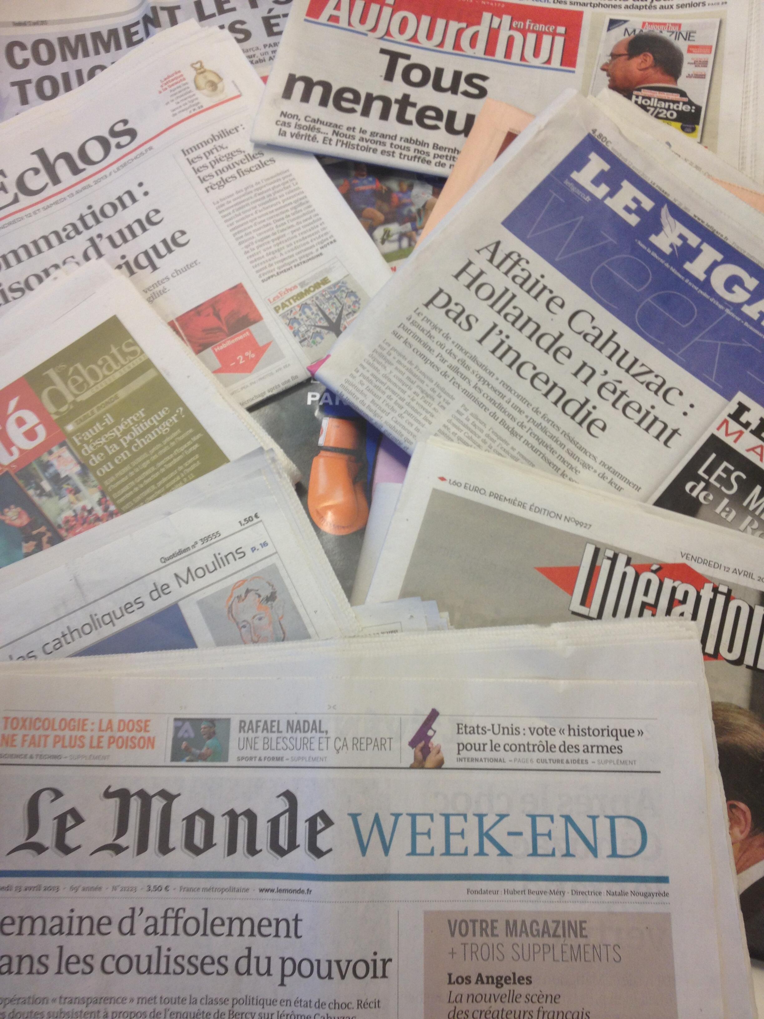 Primeiras páginas diários franceses 12/4/2013