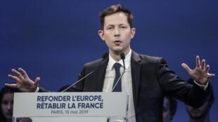 Francois-Xavier Bellamy, durant le meeting de LR à Paris le 15 mai 2019.