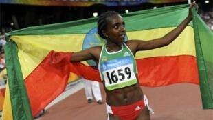 A atleta etíope Tirunesh Dibaba.