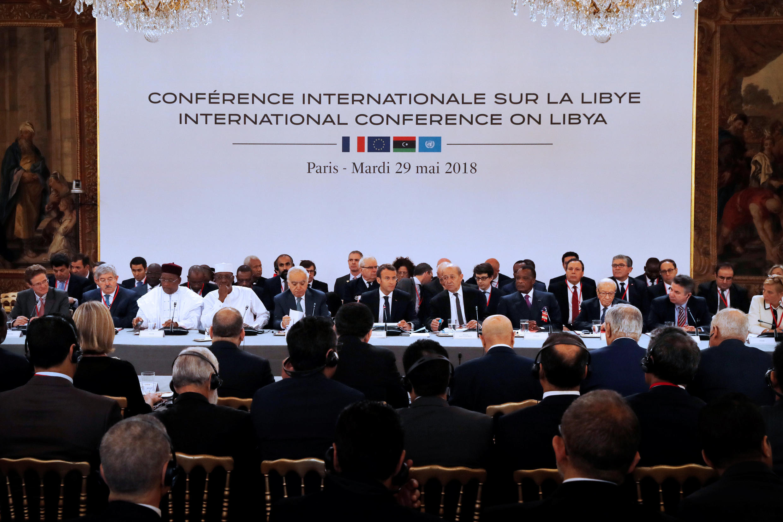 Участники конференции по Ливии, Париж, 29 мая 2018.
