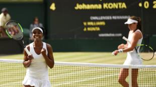 Venus Williams celebrates winning the semi final match against Johanna Konta on Thursday.
