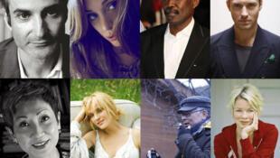 Olivier Assayas, Martina Gusman, Mahamat-Saleh Haroun, Jude Law, Nansun Shi, Uma Thurman, Johnnie To et Linn Ullmann sont les membres du Festival de Cannes 2011 (de g. à dr. et de haut en bas)