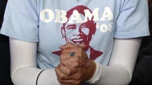 Une partisane d'Obama soutient son champion à Milwaukee dans le Wisconsin, le 22 septembre2012.