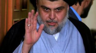Ông Moqtada al-Sadr, trong buổi họp báo ngày 23/06/2018, tại Najaf, Irak.