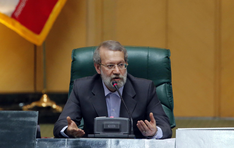 Chủ tịch Quốc hội mới Iran Ali Larijani phát biểu sau khi được tái cử ngày 29/05/2016 tại Teheran.