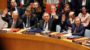Le secrétaire d'Etat américain Mike Pompeo lors de la réunion du Conseil de sécurité des Nations unies convoquée par Washington sur la situation au Venezuela, le 26 janvier 2019.