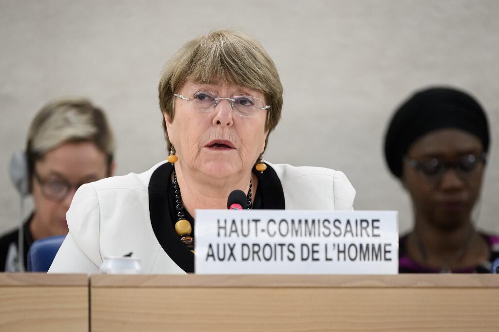 Bà Michelle Bachelet, Cao Ủy Nhân Quyền Liên Hiệp Quốc trong một cuộc họp về vấn đề nhân quyền ở Venezuela tại Geneve, Thụy Sĩ ngày 18/12/2019.