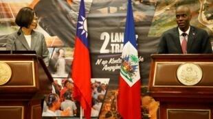 La présidente taïwanaise Tsai Ing-wen et son homologue haïtien Jovenel Moïse, le 23 juillet 2019 à Port-au-Prince.
