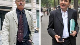 Les juges Renaud van Ruymbeke (G) le 22 mai 2007, et Roger Le Loire le 1er octobre 2009, à Paris.